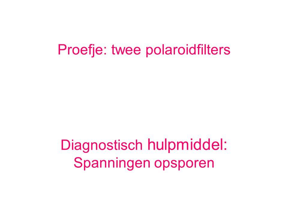 Proefje: twee polaroidfilters Diagnostisch hulpmiddel: Spanningen opsporen