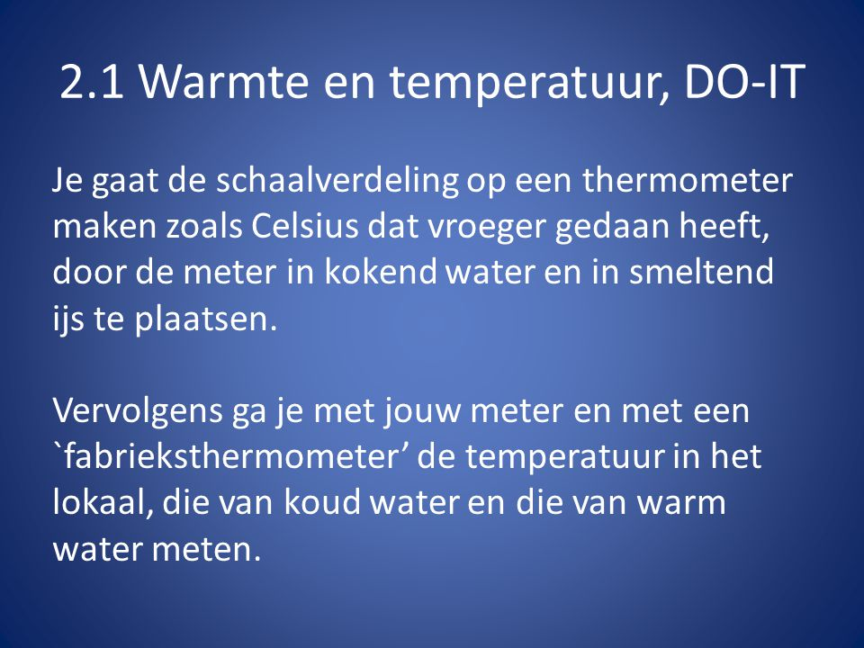 2.1 Warmte en temperatuur, DO-IT