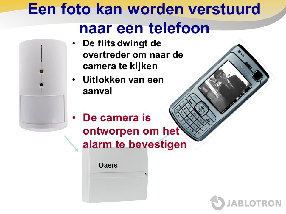Een foto kan worden verstuurd naar een telefoon