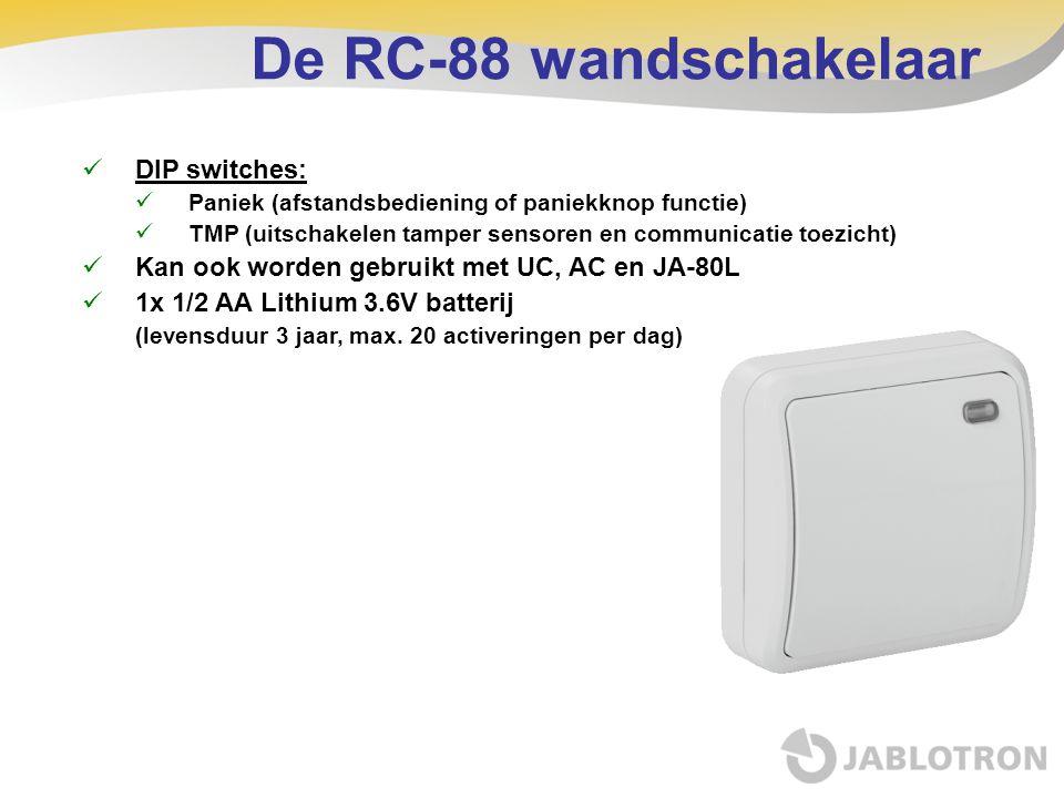 De RC-88 wandschakelaar DIP switches: