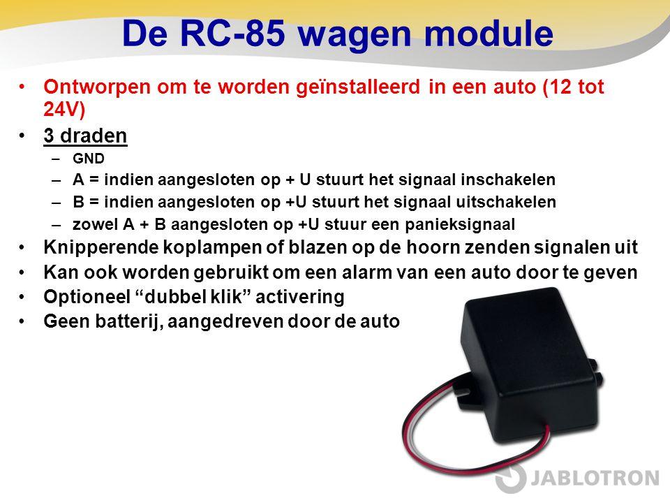 De RC-85 wagen module Ontworpen om te worden geïnstalleerd in een auto (12 tot 24V) 3 draden. GND.