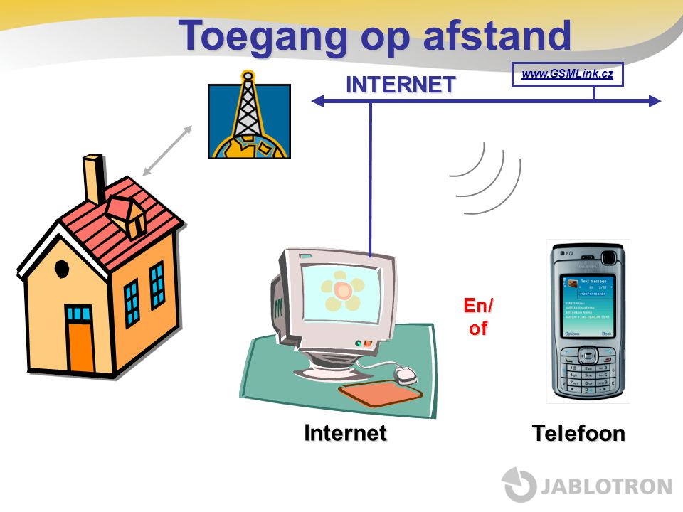 Toegang op afstand INTERNET www.GSMLink.cz En/ of Internet Telefoon