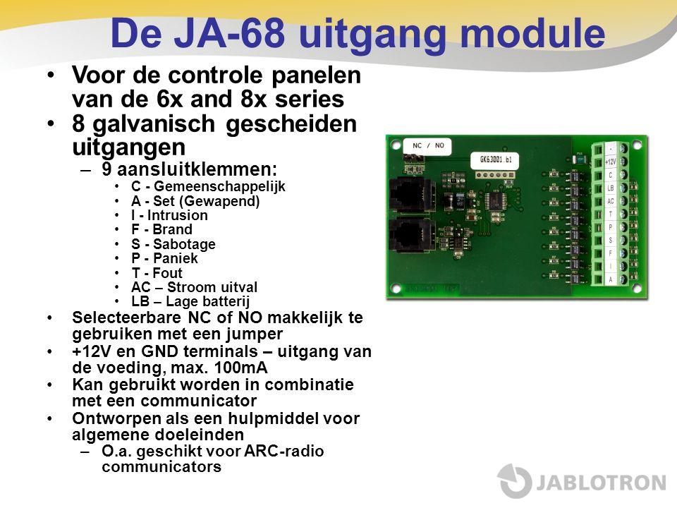 De JA-68 uitgang module Voor de controle panelen van de 6x and 8x series. 8 galvanisch gescheiden uitgangen.