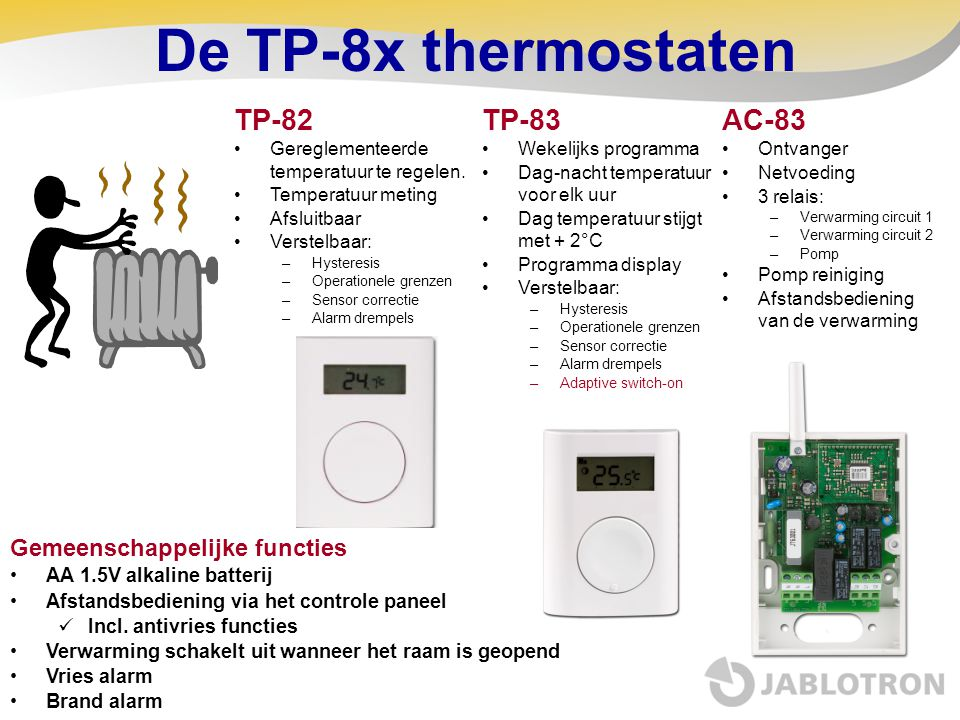 De TP-8x thermostaten TP-82 TP-83 AC-83 Gemeenschappelijke functies