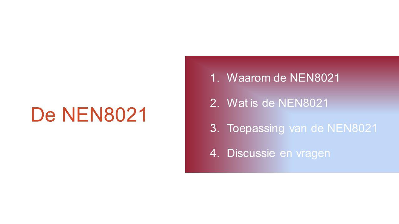 De NEN8021 Waarom de NEN8021 Wat is de NEN8021