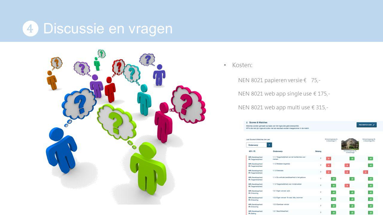 ❹ Discussie en vragen Kosten: NEN 8021 papieren versie € 75,-