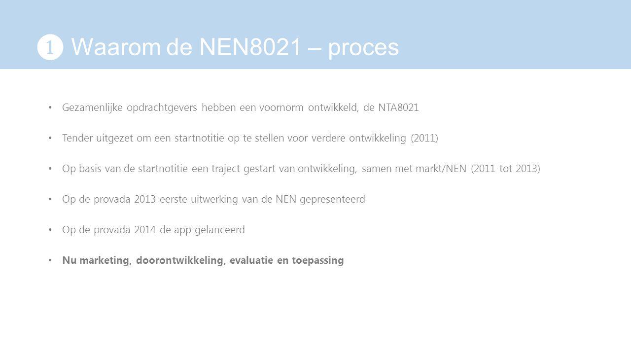 ❶ Waarom de NEN8021 – proces Gezamenlijke opdrachtgevers hebben een voornorm ontwikkeld, de NTA8021.