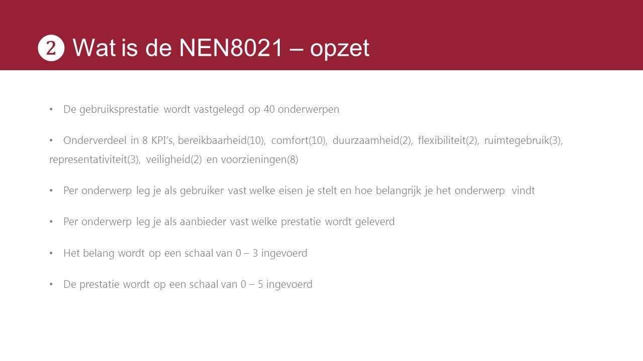❷ Wat is de NEN8021 – opzet De gebruiksprestatie wordt vastgelegd op 40 onderwerpen.