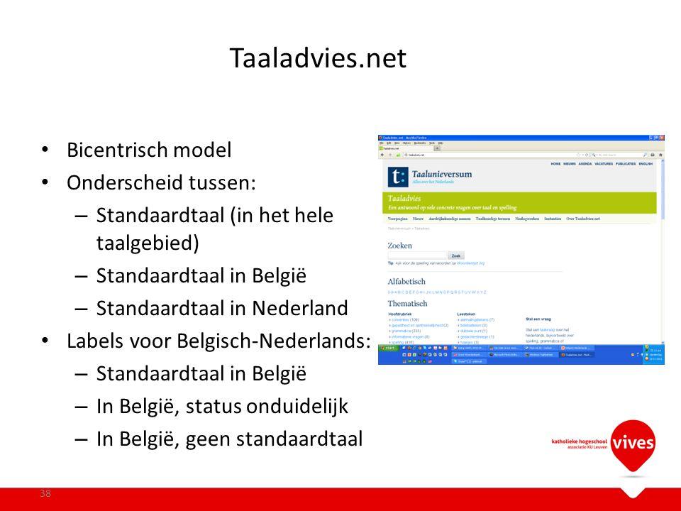Taaladvies.net Bicentrisch model Onderscheid tussen: