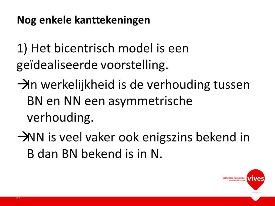 1) Het bicentrisch model is een geïdealiseerde voorstelling.