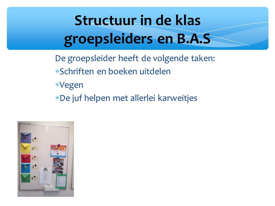 Structuur in de klas groepsleiders en B.A.S