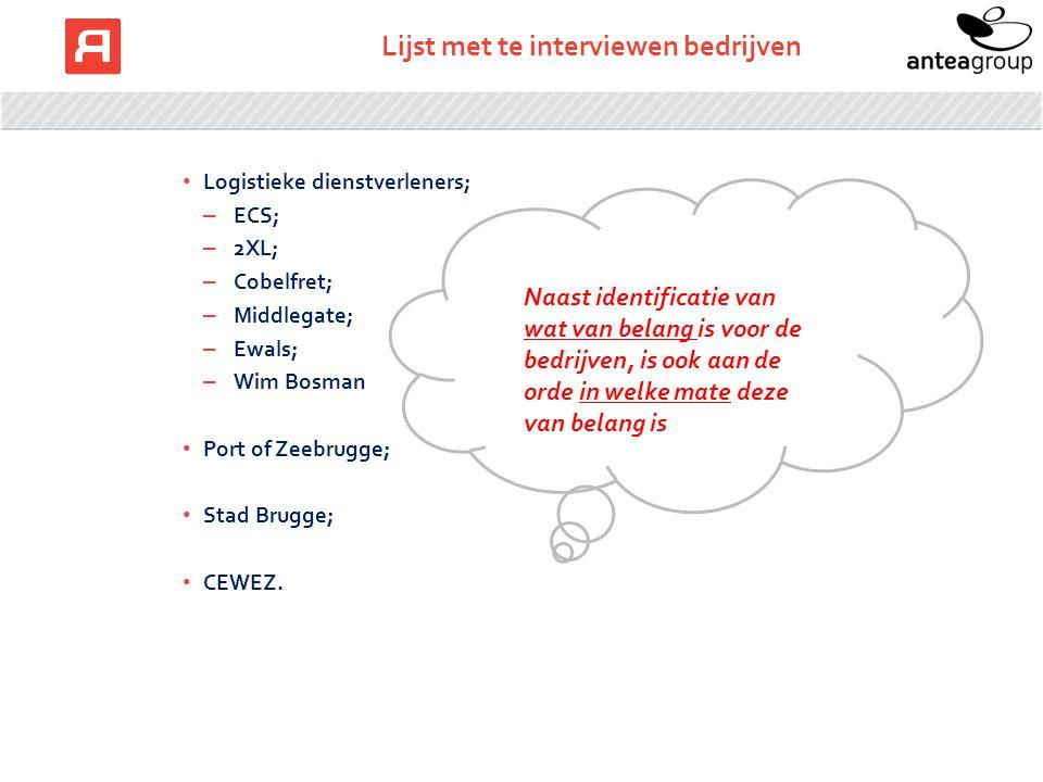 Lijst met te interviewen bedrijven