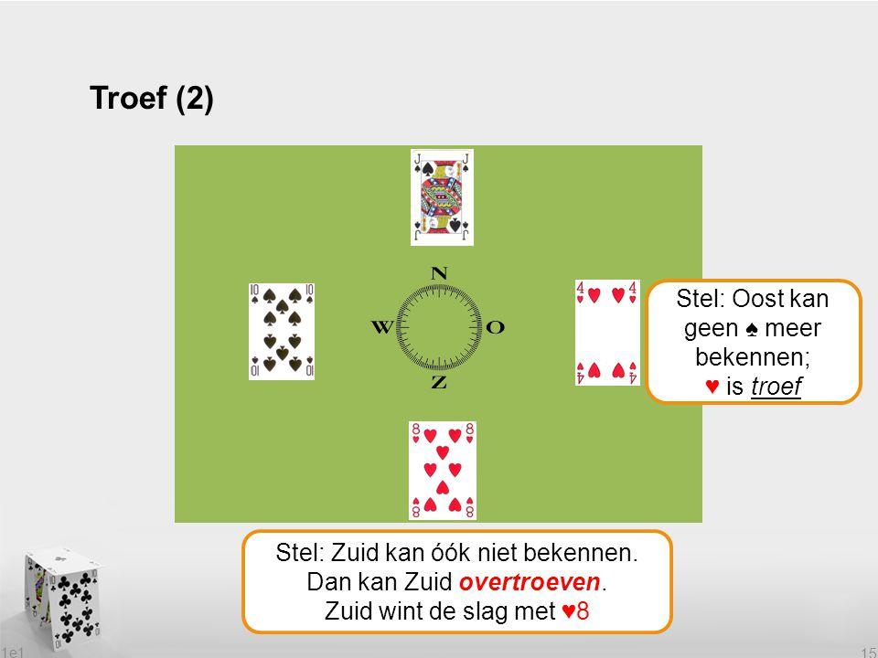 Troef (2) Stel: Oost kan geen ♠ meer bekennen; ♥ is troef