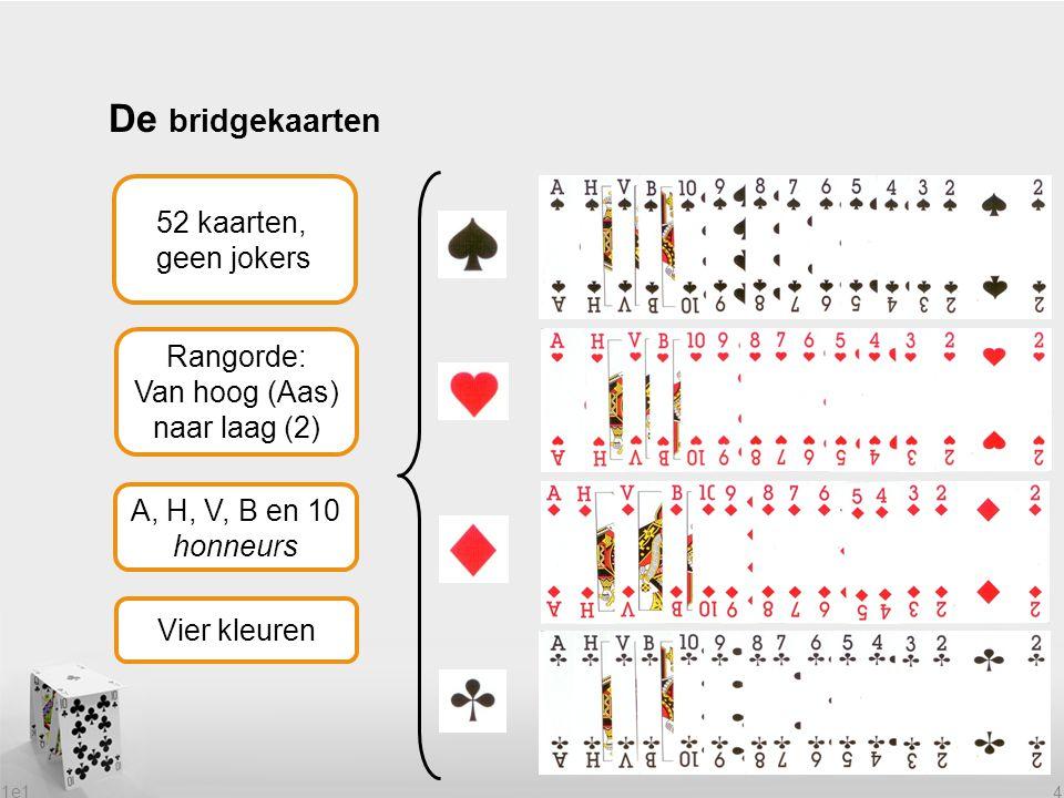 De bridgekaarten 52 kaarten, geen jokers Rangorde: Van hoog (Aas)