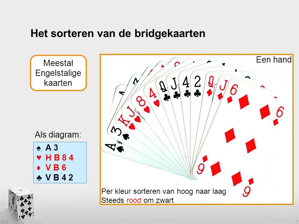 Het sorteren van de bridgekaarten