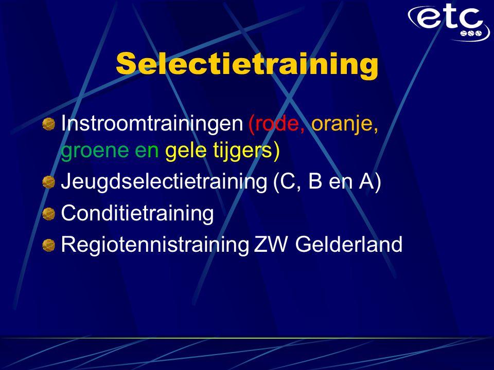 Selectietraining Instroomtrainingen (rode, oranje, groene en gele tijgers) Jeugdselectietraining (C, B en A)
