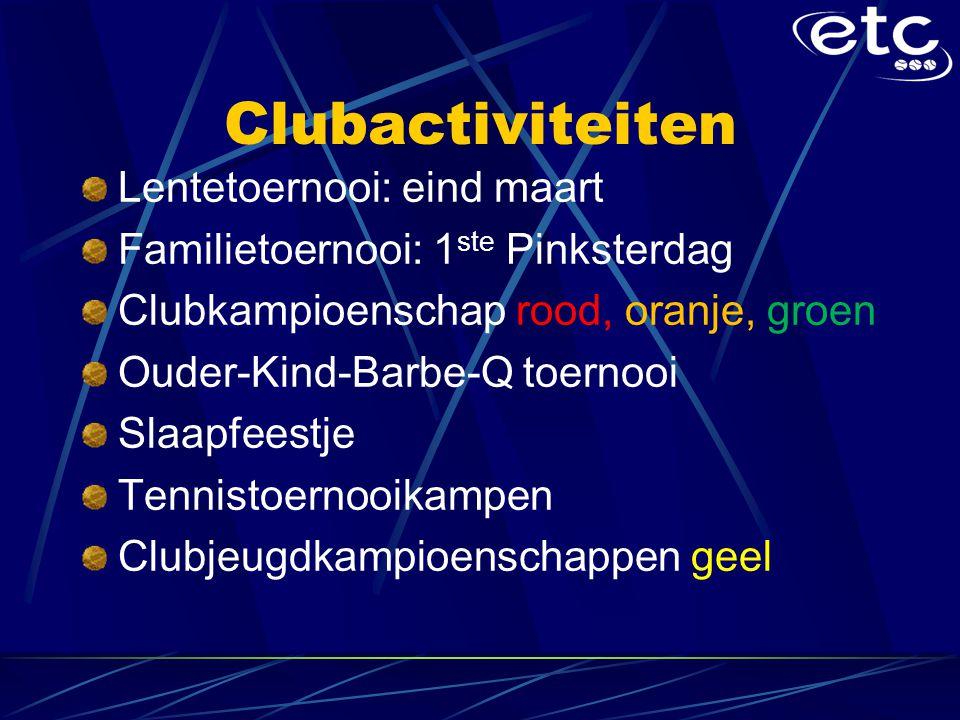 Clubactiviteiten Lentetoernooi: eind maart