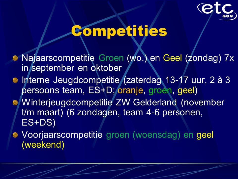 Competities Najaarscompetitie Groen (wo.) en Geel (zondag) 7x in september en oktober.