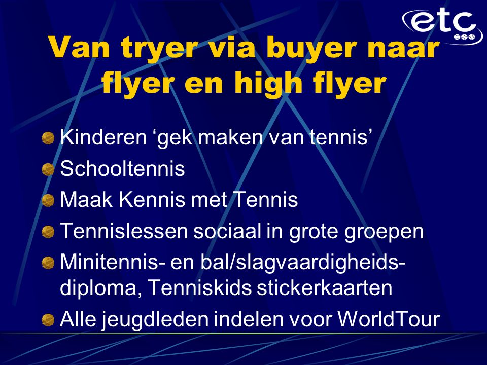 Van tryer via buyer naar flyer en high flyer