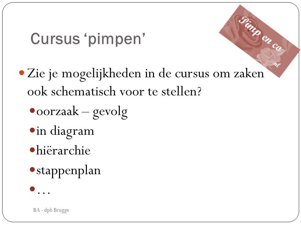 Cursus 'pimpen' Zie je mogelijkheden in de cursus om zaken ook schematisch voor te stellen oorzaak – gevolg.