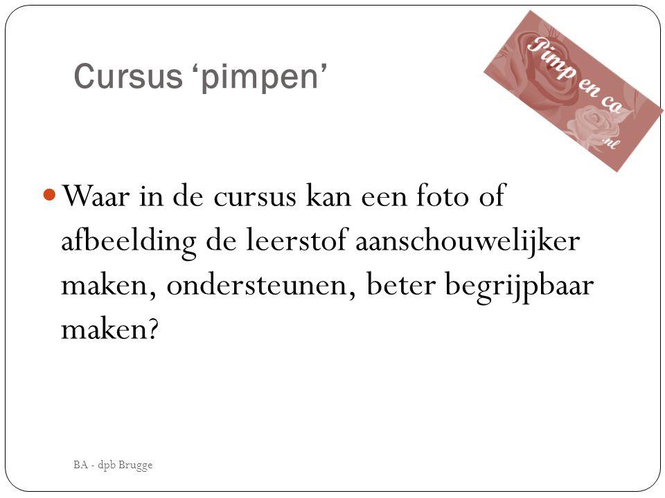 Cursus 'pimpen' Waar in de cursus kan een foto of afbeelding de leerstof aanschouwelijker maken, ondersteunen, beter begrijpbaar maken