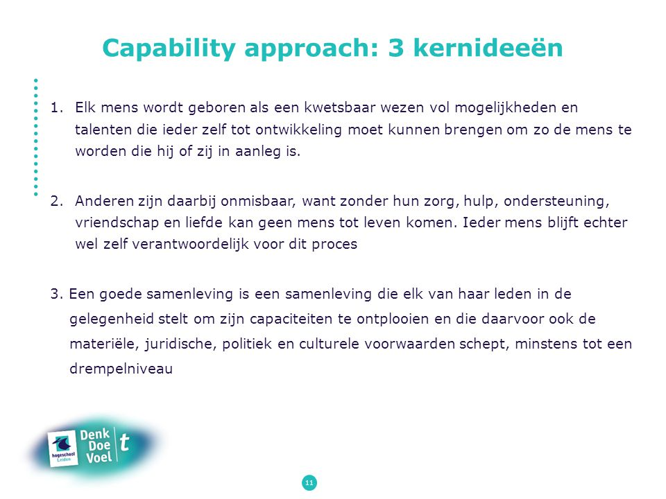 Capability approach: 3 kernideeën