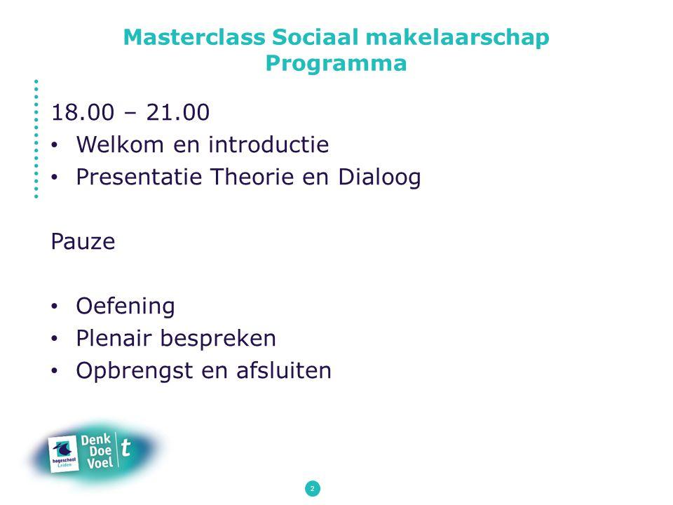 Masterclass Sociaal makelaarschap Programma
