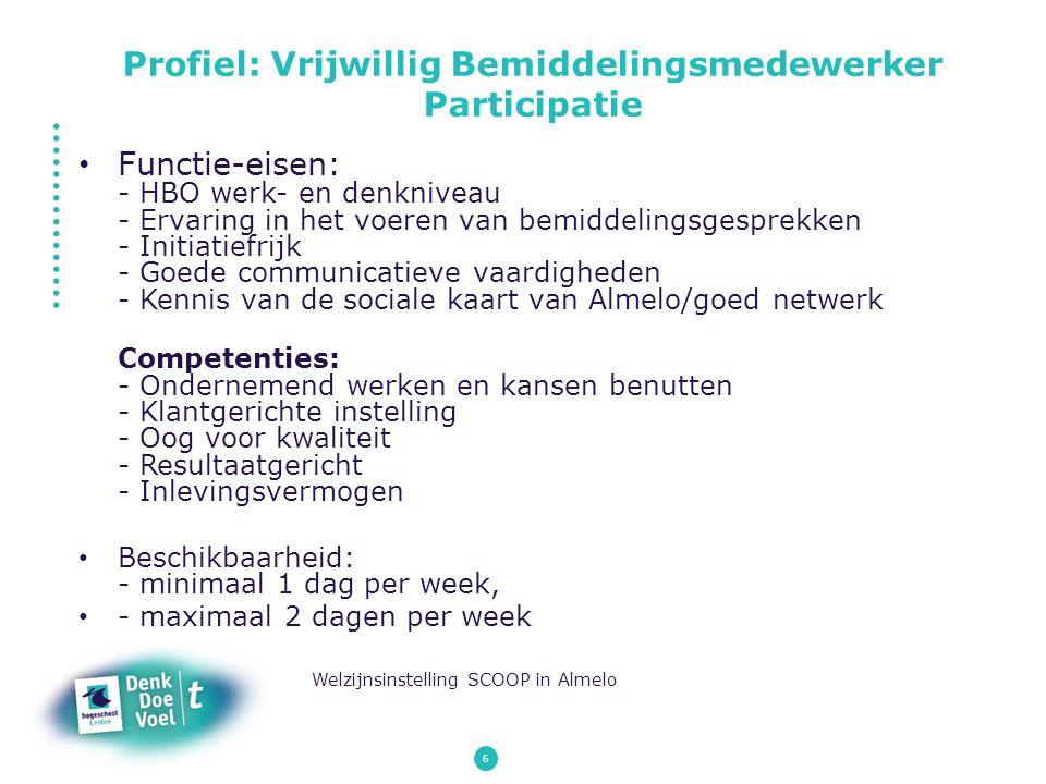 Profiel: Vrijwillig Bemiddelingsmedewerker Participatie