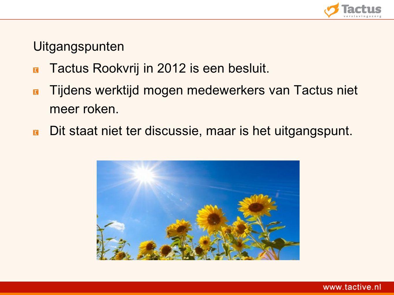 Uitgangspunten Tactus Rookvrij in 2012 is een besluit. Tijdens werktijd mogen medewerkers van Tactus niet meer roken.
