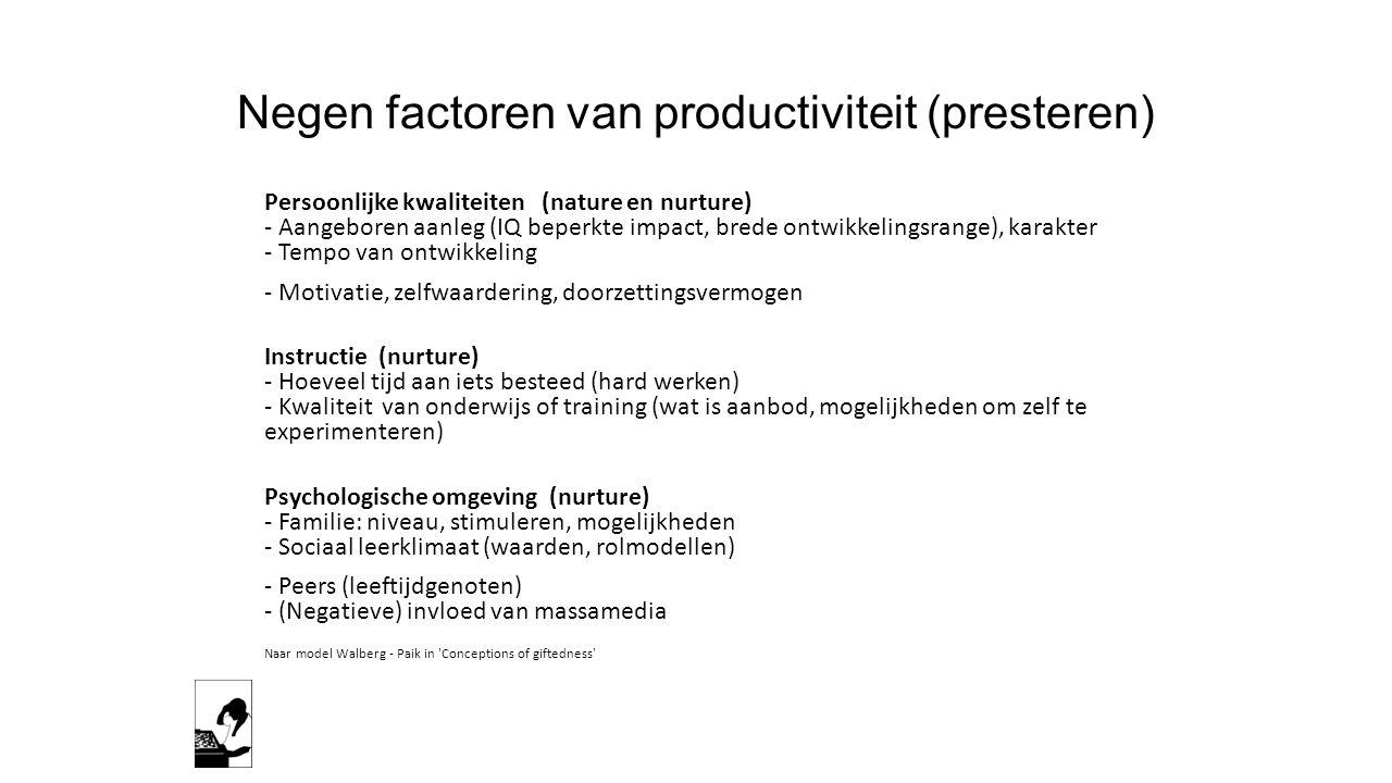 Negen factoren van productiviteit (presteren)