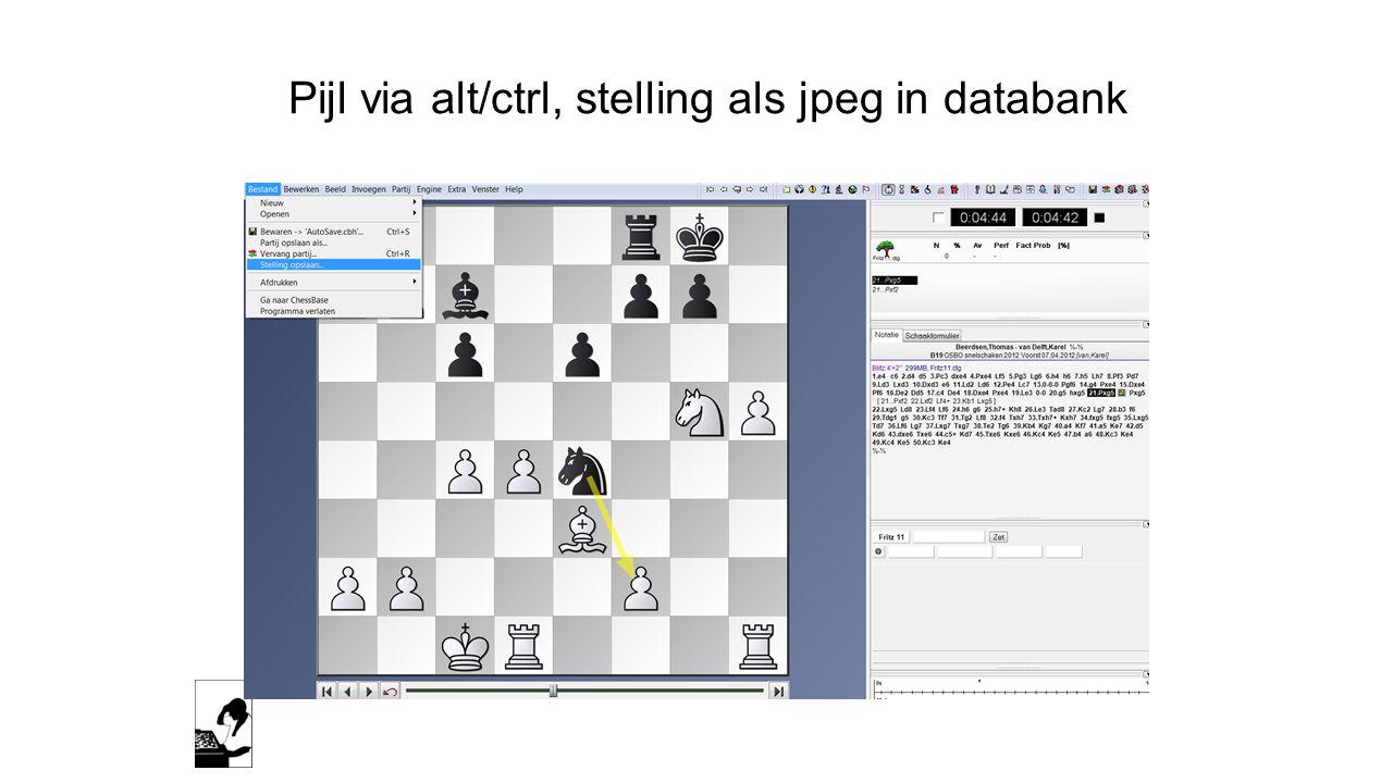 Pijl via alt/ctrl, stelling als jpeg in databank