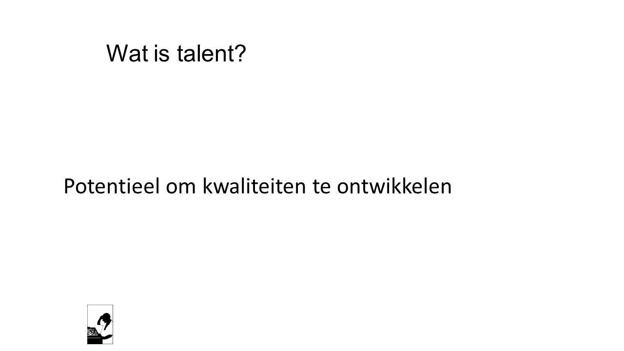 Wat is talent Potentieel om kwaliteiten te ontwikkelen