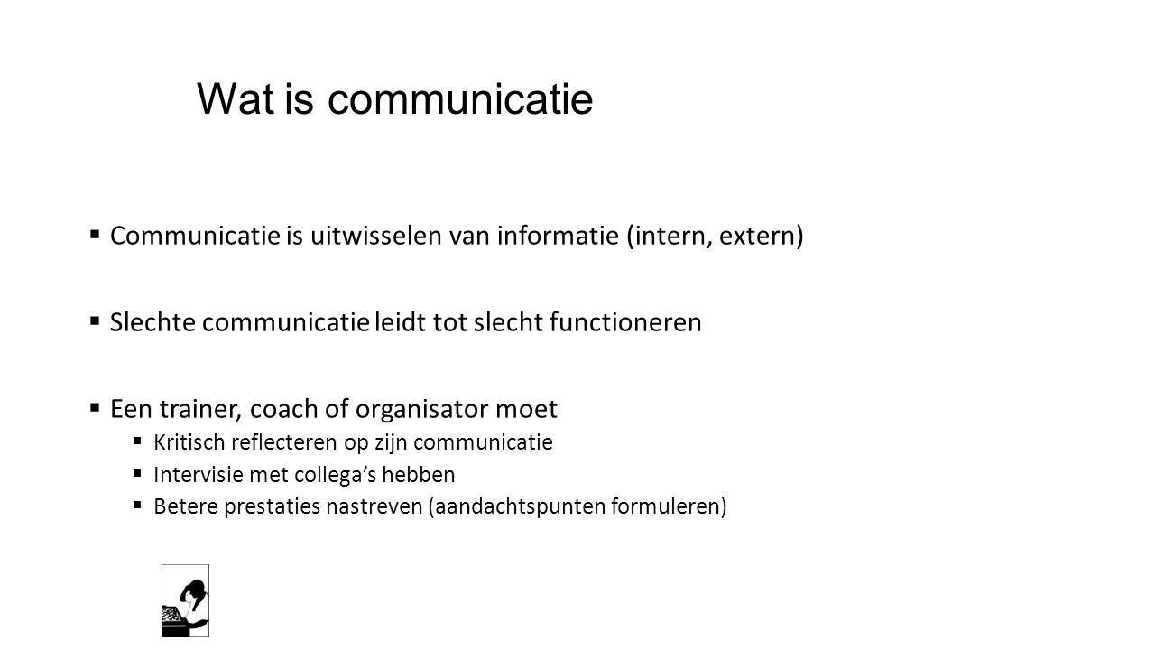 Wat is communicatie Communicatie is uitwisselen van informatie (intern, extern) Slechte communicatie leidt tot slecht functioneren.