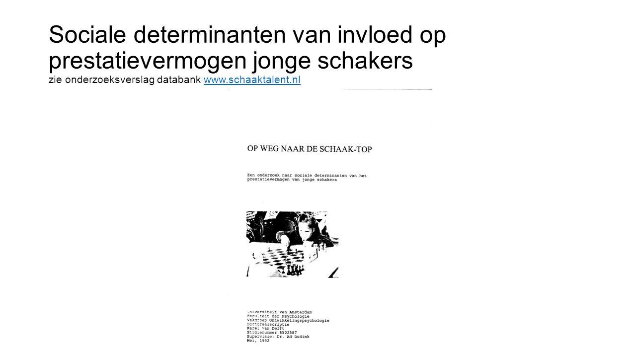 Sociale determinanten van invloed op prestatievermogen jonge schakers zie onderzoeksverslag databank www.schaaktalent.nl