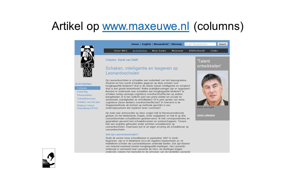 Artikel op www.maxeuwe.nl (columns)