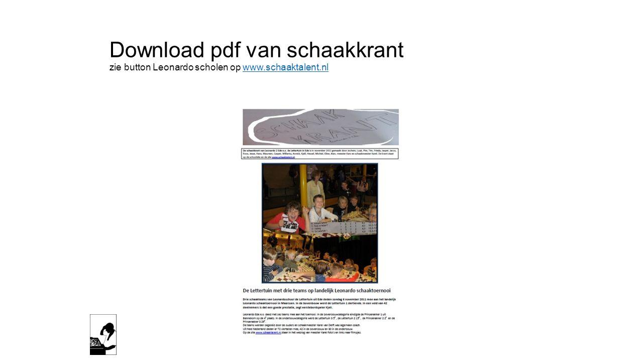 Download pdf van schaakkrant zie button Leonardo scholen op www
