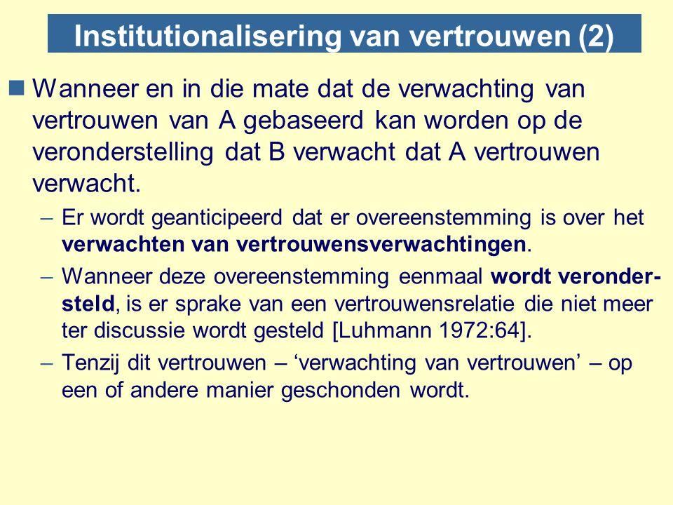 Institutionalisering van vertrouwen (2)