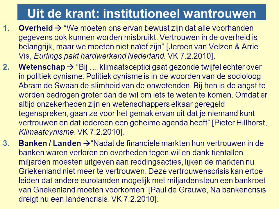 Uit de krant: institutioneel wantrouwen
