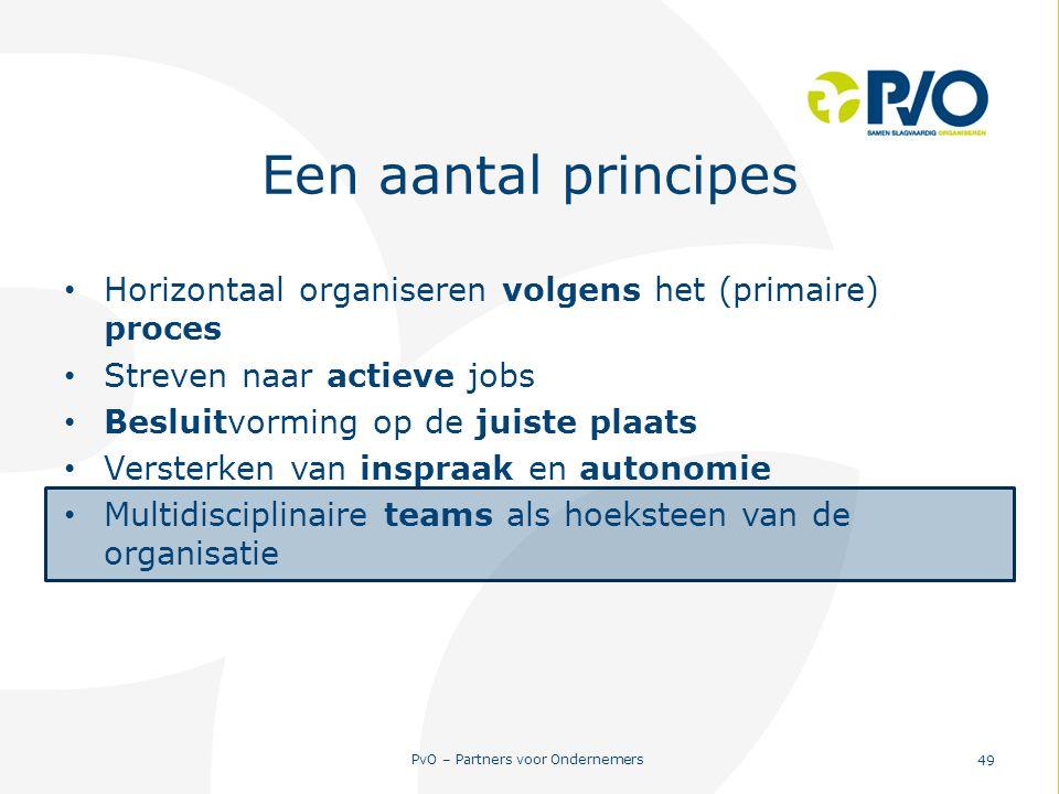 Een aantal principes Horizontaal organiseren volgens het (primaire) proces. Streven naar actieve jobs.