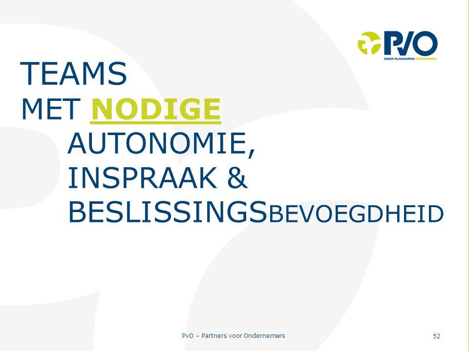 TEAMS MET NODIGE AUTONOMIE, INSPRAAK & BESLISSINGSBEVOEGDHEID