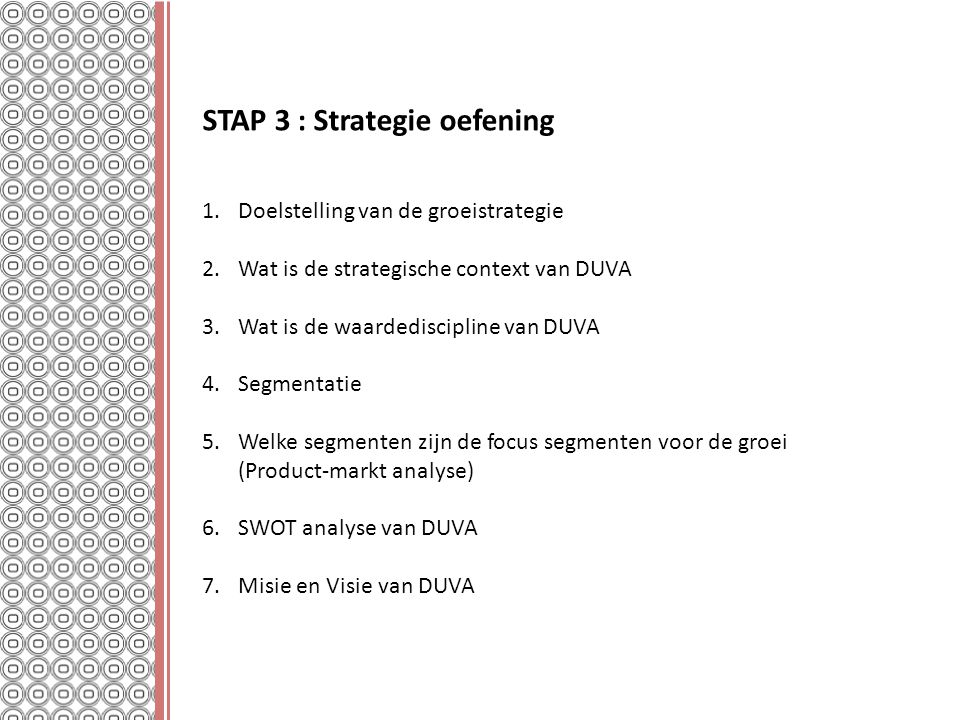 STAP 3 : Strategie oefening
