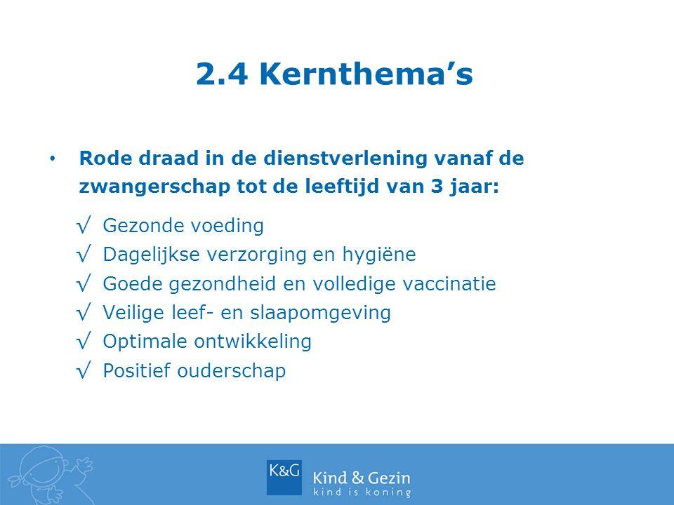 2.4 Kernthema's Rode draad in de dienstverlening vanaf de zwangerschap tot de leeftijd van 3 jaar: Gezonde voeding.