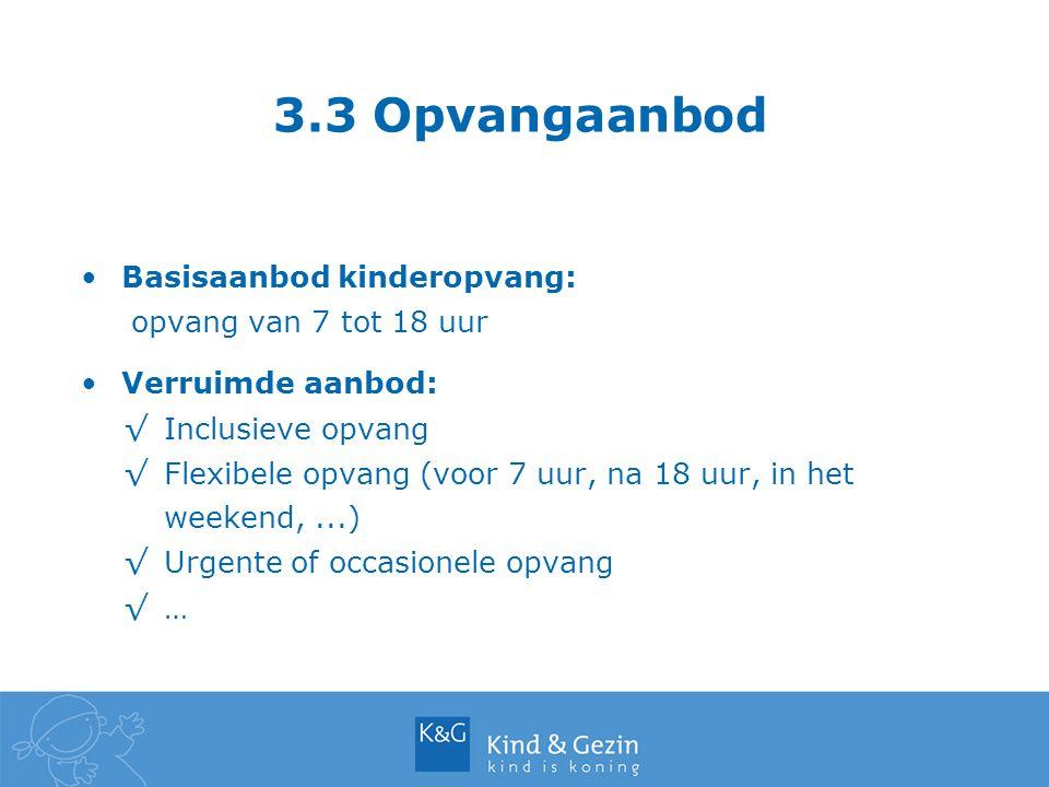 3.3 Opvangaanbod Basisaanbod kinderopvang: opvang van 7 tot 18 uur