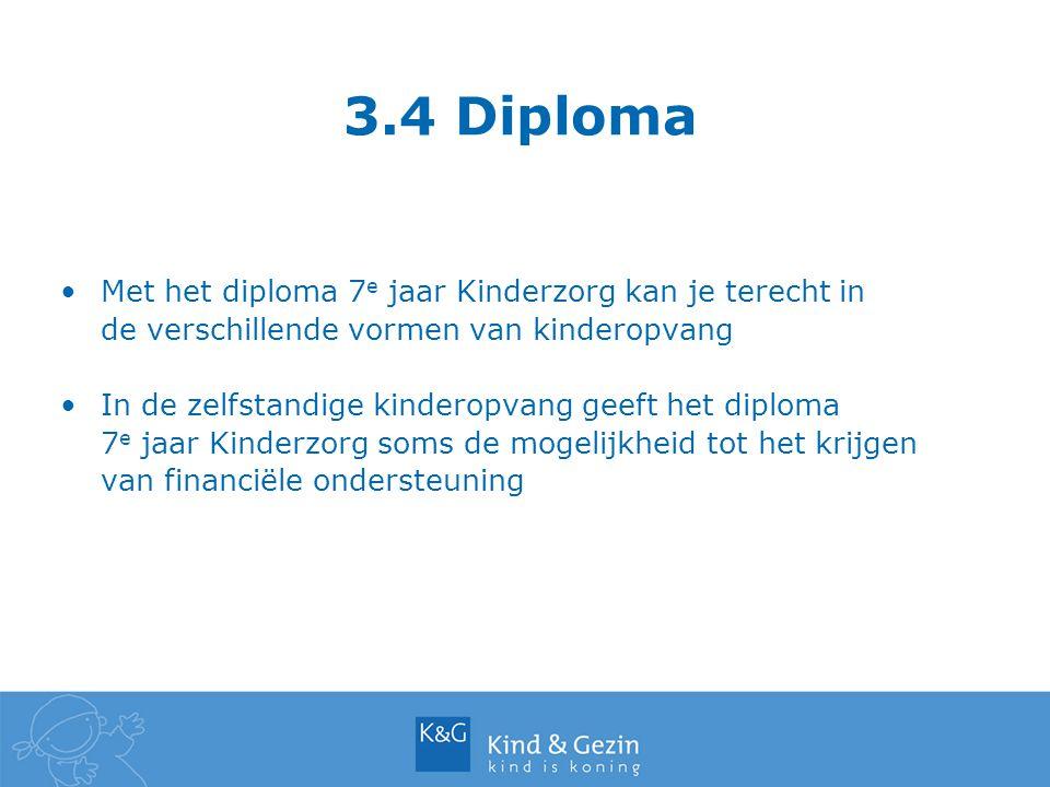 3.4 Diploma Met het diploma 7e jaar Kinderzorg kan je terecht in de verschillende vormen van kinderopvang.