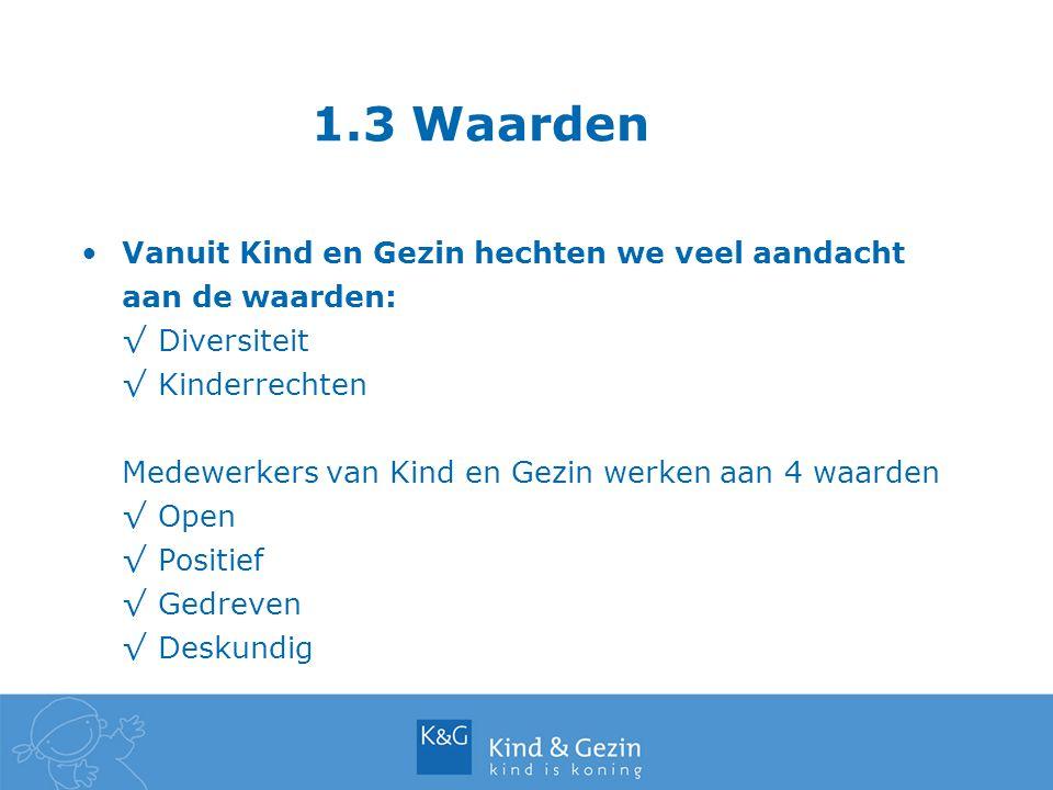 1.3 Waarden Vanuit Kind en Gezin hechten we veel aandacht aan de waarden: Diversiteit. Kinderrechten.