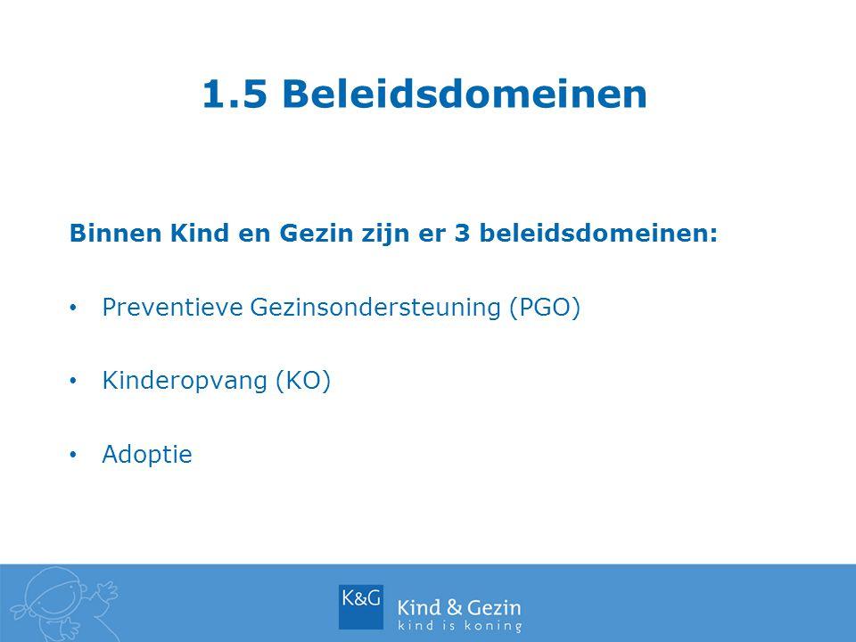1.5 Beleidsdomeinen Binnen Kind en Gezin zijn er 3 beleidsdomeinen: