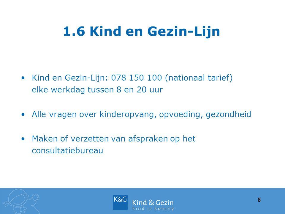 1.6 Kind en Gezin-Lijn Kind en Gezin-Lijn: 078 150 100 (nationaal tarief) elke werkdag tussen 8 en 20 uur.