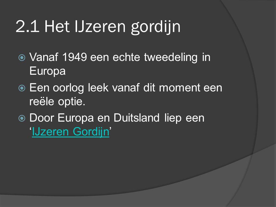 2.1 Het IJzeren gordijn Vanaf 1949 een echte tweedeling in Europa