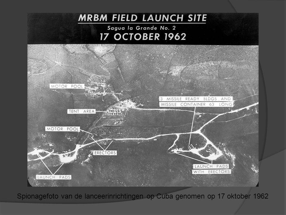 De Koude Oorlog Spionagefoto van de lanceerinrichtingen op Cuba genomen op 17 oktober 1962