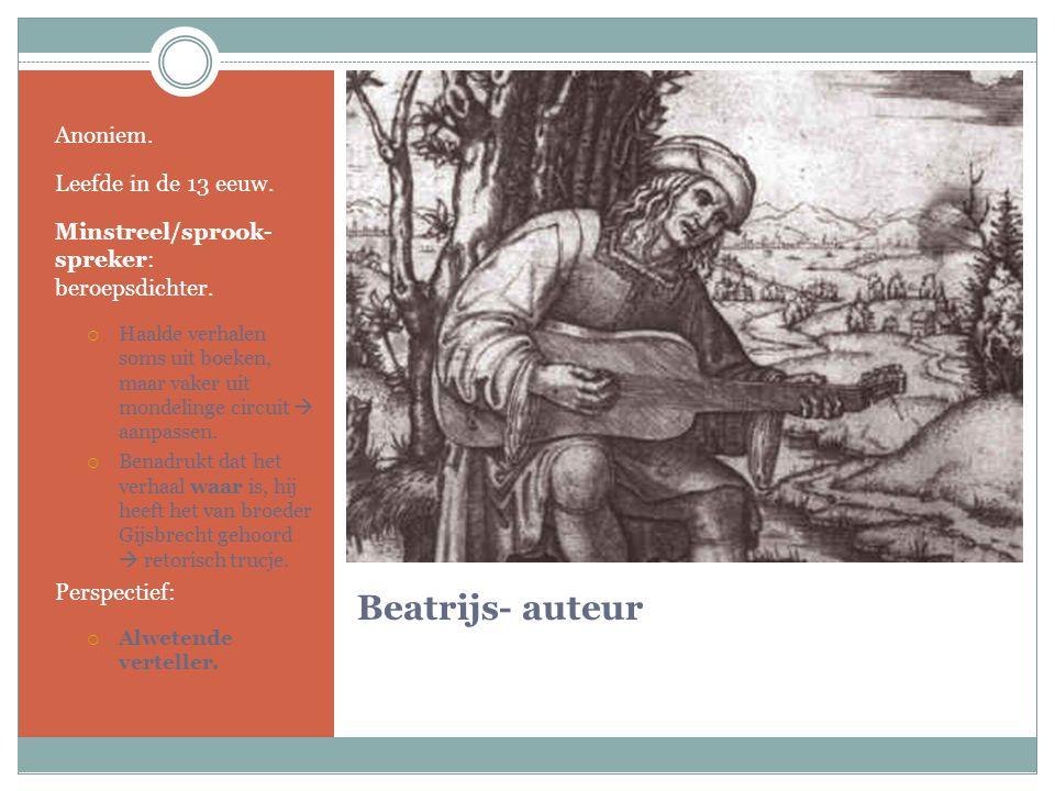 Beatrijs- auteur Anoniem. Leefde in de 13 eeuw.